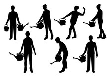 People With Watering Can Silhouettes