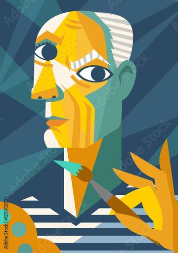 Photo cubist portrait painting cartoon