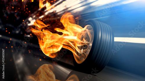 Valokuva  Flammen und Funken schlagender Autoreifen rast schnell durch einen Tunnel