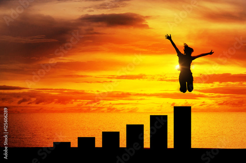 Fotomural Silhouette, personal development and career growth, Business or education concept growth success process, Woman jumping on chart in the beach