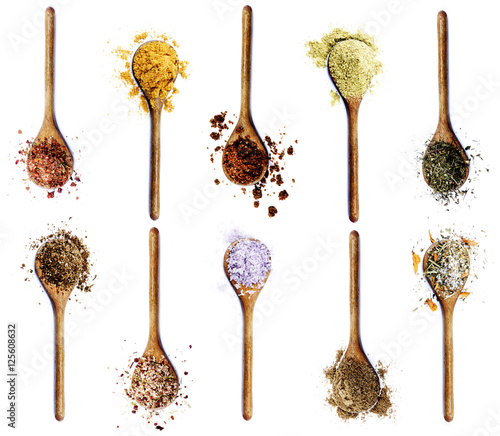 Foto op Canvas Kruiden Collection of Spices in Wooden Spoons
