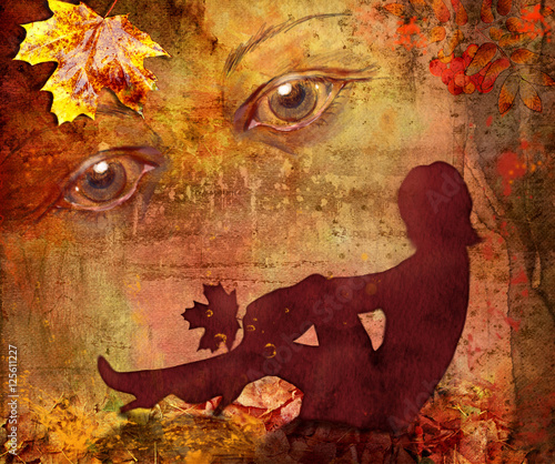 Wall Murals Imagination Silhouette of the woman on a bright autumn background