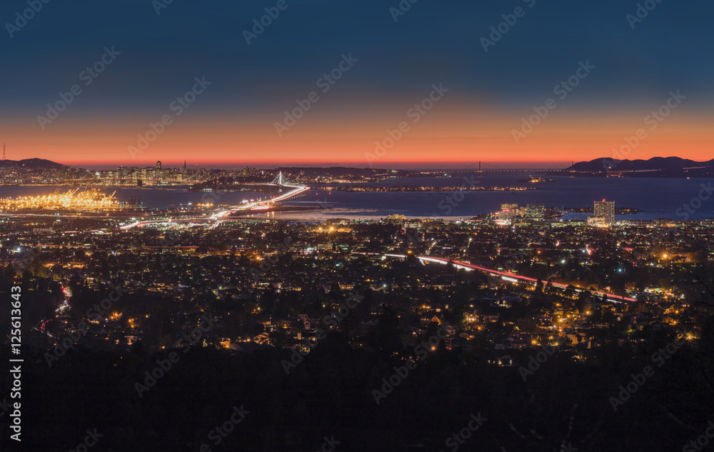 Fototapety, obrazy: Panorama Night View of San Francisco Bay, East Bay, Oakland, Mon
