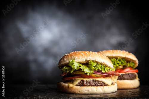 Staande foto Snack Delicious grilled burger