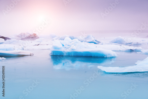 Door stickers Glaciers Jokulsarlon glacial lagoon, Iceland.