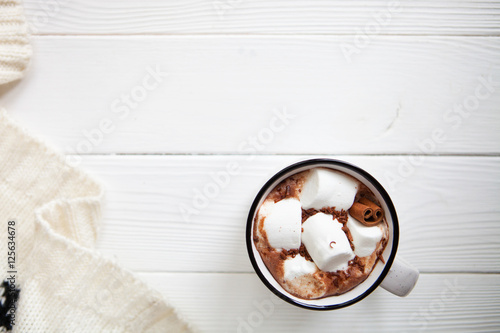 Canvas Prints Chocolate Cup hot chocolate with marshmallows in a ceramic cup on white wo