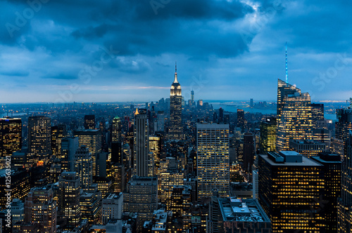 Fotografie, Obraz  Night Empire State Building view and panorama from Top of The Rock, Rockefeller