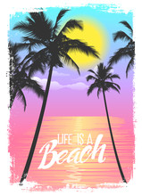 Exotic Travel Background With Palm Trees. Summer Print For T-Shirt.
