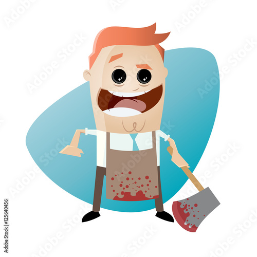 Foto psychopath with bloody hatchet and apron