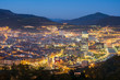 panoramic sundown views to bilbao city, spain