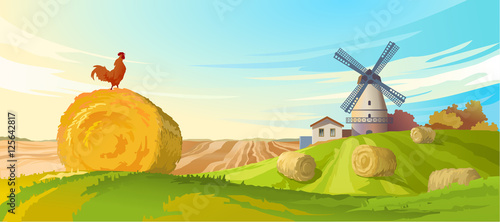 Tuinposter Pool Vector illustration rural summer landscape