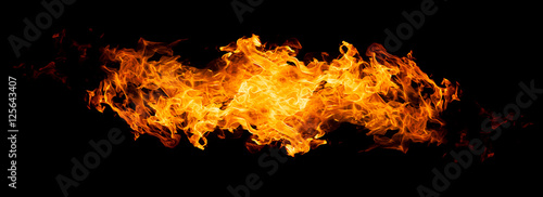 Poster Fire / Flame Fire flames - isolated on black background