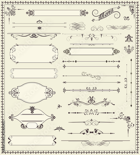 Fototapety, obrazy: Various vintage label and border elements with ornate elegant re