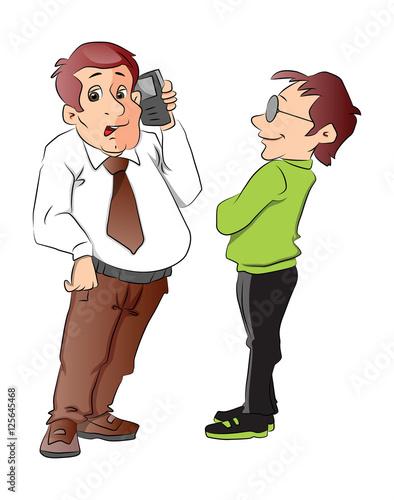 In de dag Kinderkamer Two Men, One Using a Cellphone, illustration
