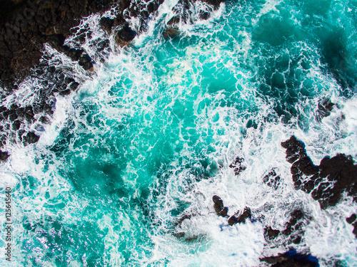 Poster Turquoise Rough aqua water in Cape Schanck