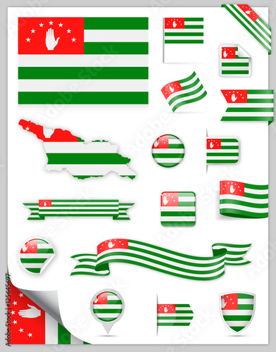 Abkhazia Flag Set - Vector Collection Canvas Print