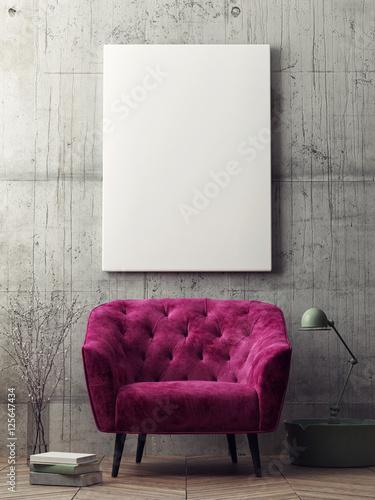 Fényképezés Close up poster, hipster living room, 3d rendering