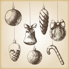 Brown Vintage Sketch - Christmas Hand Drawn Ornaments.