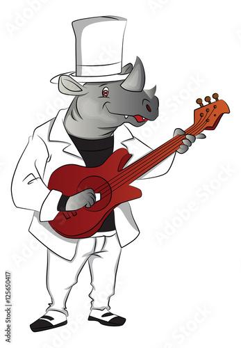 Foto op Plexiglas Wild West Vector of rhinoceros playing guitar.