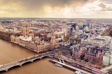 FototapetaPalace of Westminster in London, vintage effect.