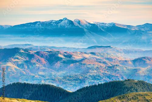 Poster Bleu Mountain peaks in snow