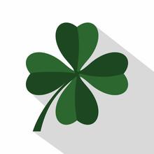 Green Four Leaf Clover Icon. F...