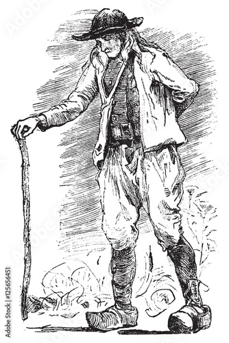 b6ad2b33 Breton Beggar, vintage engraving. - Buy this stock vector and ...