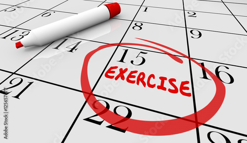 exercise fitness schedule workout class day calendar 3d illustra