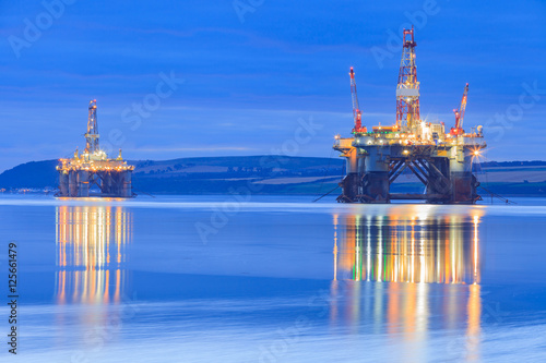 Semi Submersible Oil Rig during Sunrise at Cromarty Firth