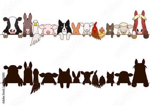 Carta da parati farm animals border with silhouette
