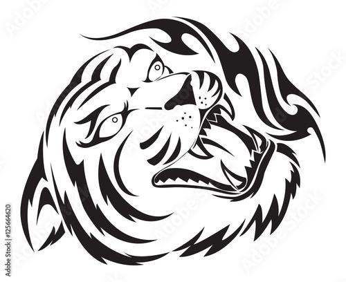 Fototapety, obrazy: Roaring tiger tattoo, vintage engraving.
