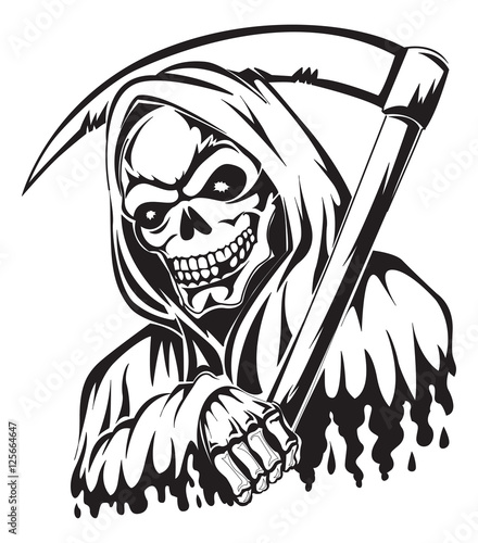 Photo  Tattoo of a grim reaper holding a scythe, vintage engraving.