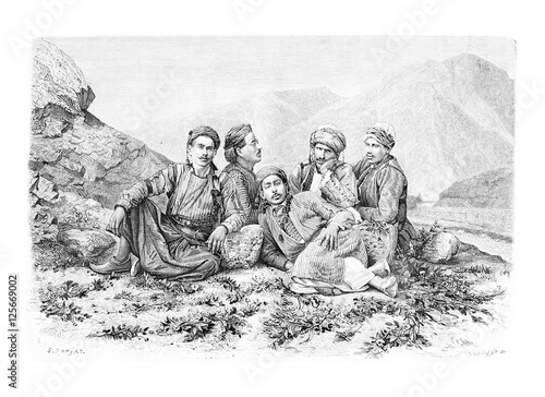 Photo  Camel Drivers Resting, vintage engraving