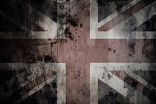 Faded British Flag On Cracked Wall