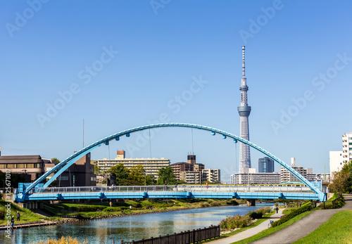 Foto op Plexiglas Kiev Tokyo skytree with blue sky Tokyo,Japan