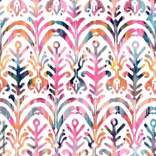 Papiers peints Style Boho Ikat watercolor seamless pattern. Floral vibrant watercolour .