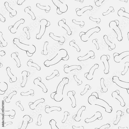 human penis illustration, seamless pattern Fotobehang