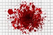 Grunge Blood White Tiles Mosai...