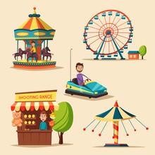Amusement Park Theme. Cartoon Vector Illustration