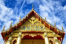 Roof Gable Thai Architecture,Thai Temple Wat Pho Chai Nong Khai Province, North Eastern Thailand.