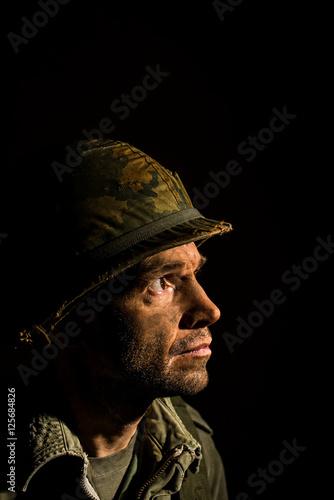 Canvas-taulu Battlefront American Soldier - Vietnam war