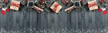 Christmas Background With Spruce, Gift Box, Santa Claus Boots An