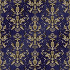 Damask vector pattern. Seamless vintage wallpaper or background