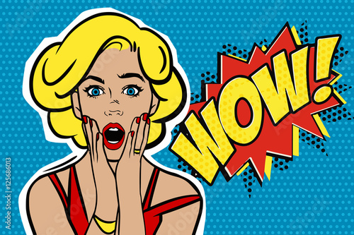 Fototapety Pop Art   pop-art-surprised-blond-woman-face-with-open-mouth-comic-woman-with-speech-bubble-vector