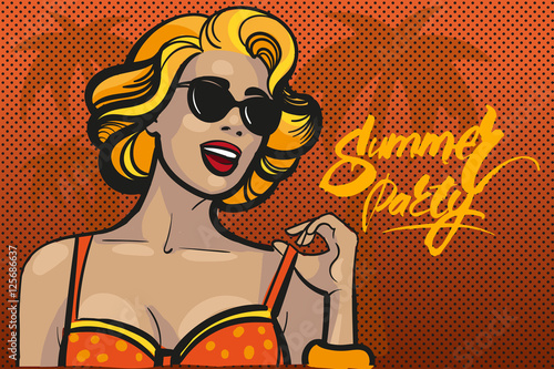 Blond woman in a sunglasses on orange palm background Wallpaper Mural