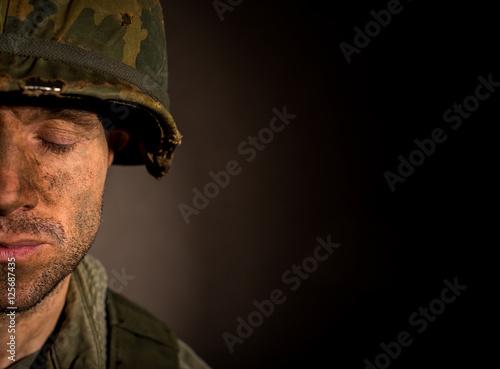 Plakat Amerykański żołnierz z PTSD