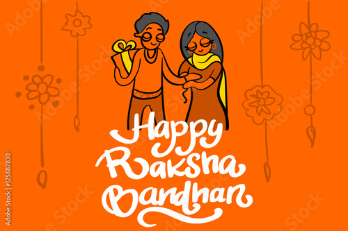 Valokuva  illustration of brother and sister tying rakhi on Raksha Bandhan