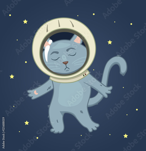 Sad Cat In A Spacesuit On The Space Background Square Sticker V