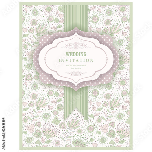 Papiers peints Affiche vintage Wedding Invitation. Greeting Card with Flowers in a folk style