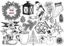 Xmas Engraved Objects. Fir Branch, Lantern, Poinsettia, Mistletoe, Cookie, Cone, Snowman, Cup, Candy, Glove, Gift, Ball.